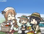 3girls basket blonde_hair blue_sky braid brown_hair commentary dated detached_sleeves double_bun eating_hair feathers garter_straps greenhouse hair_feathers hamu_koutarou hat headdress kantai_collection kitakami_(kantai_collection) littorio_(kantai_collection) long_hair michishio_(kantai_collection) motor_vehicle multiple_girls neckerchief necktie open_mouth pleated_skirt ponytail school_uniform serafuku shirt short_twintails single_braid skirt sky sleeveless sleeveless_shirt straw_hat tomato truck twintails vehicle wavy_hair