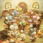 apron artist_name banana_peel barrel basket boo chair closed_eyes cookie cooking door eating egg food fork fruit frying_pan ghost grapes handheld_game_console heart holding holding_fork holding_knife holding_pan holding_plate honey indoors jar knife long_tongue looking_at_another mario_(series) marmalade melon nintendo_switch no_humans open_mouth pancake plate playing_games poochy_(yoshi's_island) sharp_teeth sleeping smile sui_(petit_comet) super_mario_bros. super_mario_world_2:_yoshi's_island table teeth tongue tongue_out window wooden_chair wooden_door wooden_table yoshi