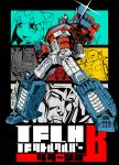 1girl 5boys android autobot bumblebee cover cover_page decepticon doujin_cover doujinshi glowing glowing_eyes humanoid_robot ironhide kamizono_(spookyhouse) machinery mecha megatron multiple_boys no_humans open_mouth optimus_prime original personification pointing pointing_at_viewer robot science_fiction smile starscream transformers weapon