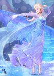 1girl blonde_hair blue_dress blue_eyes braid cape disney dress earrings elsa_(frozen) frozen_(disney) high_heels highres ice jewelry long_hair looking_to_the_side mspk signature single_braid snowflake_earrings solo sparkle