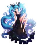 1girl :o ango arms_at_sides bare_shoulders barefoot black_dress black_ribbon blue_eyes blue_hair crying crying_with_eyes_open dress e expressionless full_body glint hair_ribbon hatsune_miku highres knees_up long_hair looking_at_viewer parted_lips ribbon shinkai_shoujo_(vocaloid) simple_background sleeveless sleeveless_dress solo tears twintails very_long_hair vocaloid white_background