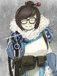 1girl aiming_at_viewer belt blue_gloves blush blush_stickers brown_hair canister closed_eyes coat fur glasses gloves gun hair_bun hair_ornament hairpin long_sleeves mei_(overwatch) overwatch pocket pointing pointing_at_viewer short_hair sidelocks solo sparkle weapon