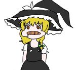 1girl blonde_hair braid bread bread_in_mouth hat kirisame_marisa ribbon simple_background solo touhou witch_hat worst2hu