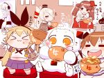 >_< 6+girls :3 amatsukaze_(kantai_collection) anchor_symbol arms_up blonde_hair blush_stickers bowl braid brown_eyes brown_hair chibi chopsticks closed_eyes detached_sleeves eating empty enemy_aircraft_(kantai_collection) food food_on_face glasses gyuudon hair_tubes hat headgear headphones heart horns japanese_clothes kantai_collection kariginu long_hair magatama midriff miniskirt mittens multiple_girls northern_ocean_hime open_mouth orange_eyes rensouhou-chan rensouhou-kun rice rice_bowl rice_on_face ryuujou_(kantai_collection) sako_(bosscoffee) school_uniform serafuku shimakaze_(kantai_collection) short_hair sitting skirt smile sparkle spoken_heart supply_depot_hime thigh-highs top_hat translation_request twintails visor_cap white_hair white_skin x3 yukikaze_(kantai_collection)