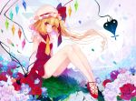1girl :o arms_at_sides balloon bangs bare_legs blonde_hair blue_fire blush building butterfly cross-laced_footwear crystal curly_hair daimaou_ruaeru dress fire flandre_scarlet floating_hair floating_island flower frilled_hat frilled_sleeves frills grass hat hat_ribbon heart_balloon high_heels highres laevatein long_hair looking_at_viewer mob_cap necktie on_ground one_side_up outdoors petals red_dress red_eyes red_flower red_ribbon red_rose red_shoes ribbon rose saliva shoes short_necktie short_sleeves sitting solo touhou tower weapon white_flower white_hat white_rose wind wings yellow_necktie