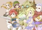 3boys 3girls ayla_(chrono_trigger) bandeau blonde_hair blue_eyes breasts chrono_trigger cleavage crono curly_hair fur_trim kaeru_(chrono_trigger) long_hair lucca_ashtear magus marle multiple_boys multiple_girls robo short_hair