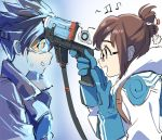 2girls bangs blue_gloves bodysuit bomber_jacket brown_hair brown_jacket coat fur glasses gloves goggles gun hair_bun hair_ornament hairpin jacket leather leather_jacket long_sleeves looking_at_another mei_(overwatch) multiple_girls overwatch pointing short_hair sidelocks smile spiky_hair sweatdrop tracer_(overwatch) upper_body weapon