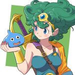 1girl bare_shoulders blue_eyes dragon_quest dragon_quest_iv green_hair heroine_(dq4) short_hair slime_(dragon_quest) smile solo sword weapon yazwo