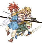 1girl 2boys ayla_(chrono_trigger) bandeau blonde_hair blue_eyes breasts chrono_trigger cleavage crono curly_hair fur_trim kaeru_(chrono_trigger) long_hair multiple_boys short_hair white_background yuru4u