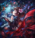 1girl avamone bangs blue_ribbon blurry bokeh brown_hair butterfly choker depth_of_field eyelashes floral_print flower frilled_sleeves frills from_side glowing_butterfly highres japanese_clothes kimono koutetsujou_no_kabaneri lens_flare looking_up mumei_(kabaneri) obi orange_eyes parted_lips petals profile red_flower ribbon ribbon_choker sash short_hair solo spider_lily topknot upper_body wide_sleeves wind