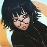 artist_name black-framed_glasses black_hair closed_mouth cross cross_necklace guweiz hunter_x_hunter jewelry looking_to_the_side necklace pendant red_lips shizuku_(hunter_x_hunter) short_hair sweater upper_body violet_eyes