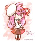 1girl ahoge alternate_costume artist_name blush bow bowtie hata_no_kokoro mask open_mouth pink_eyes pink_hair red_shoes shoes simple_background skirt solo touhou translation_request yurume_atsushi