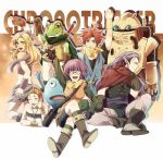 3girls 4boys ayla_(chrono_trigger) bandeau blonde_hair blue_eyes breasts chrono_trigger crono curly_hair fur_trim kaeru_(chrono_trigger) long_hair lucca_ashtear magus marle multiple_boys multiple_girls nu open_mouth robo short_hair sushiko15