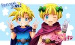 1boy 1girl bangs belt bianca's_daughter bianca's_son blonde_hair blue_eyes blunt_bangs blush bow brother_and_sister cape commentary dragon_quest dragon_quest_v earrings hair_bow hand_up hands_up jewelry looking_at_viewer minto_cyoko one_eye_closed open_mouth short_hair siblings smile translated twins v wristband