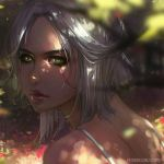 1girl artist_name bare_shoulders blood blood_on_face blurry ciri dappled_sunlight day depth_of_field from_above from_behind green_eyes guweiz injury looking_at_viewer looking_up outdoors parted_lips red_lips short_hair silver_hair solo spaghetti_strap sunlight the_witcher_3 watermark web_address