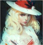 artist_name black_background blonde_hair border closed_mouth copyright_name green_eyes guweiz hat jacket looking_at_viewer multicolored_eyes open_clothes open_jacket pink_lips portrait red_eyes serious simple_background sybil_(transistor) transistor_(game) upper_body white_border white_hat white_jacket
