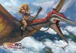1girl ayla_(chrono_trigger) blonde_hair blue_eyes breasts chrono_trigger cleavage curly_hair dinosaur long_hair tyler_edlin