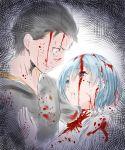 1boy 1girl black_hair bleeding blood blood_on_face blood_splatter bloody_clothes blue_hair injury looking_at_another natsuki_subaru parted_lips re:zero_kara_hajimeru_isekai_seikatsu rem_(re:zero) sketch spoilers tears yasuyuki