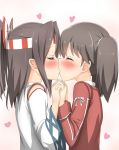 2girls blush brown_hair closed_eyes from_side hachimaki headband heart highres holding_hands interlocked_fingers japanese_clothes kantai_collection kiss multiple_girls nedia_r ponytail profile ryuujou_(kantai_collection) twintails upper_body yuri zuihou_(kantai_collection)