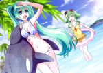2girls 54hao arm_up bikini closed_eyes clouds dutch_angle green_eyes green_hair gumi hatsune_miku highres innertube long_hair multiple_girls navel one-piece_swimsuit open_mouth sky swimsuit thigh_gap twintails very_long_hair vocaloid wading water