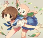 >:) 1girl animal animal_on_back bent_over blue_skirt blush breasts brown_eyes brown_hair cleavage closed_mouth collarbone crossover kill_la_kill kusano_shinta mankanshoku_mako neckerchief outstretched_arms pleated_skirt pokemon rowlet school_uniform serafuku shirt short_hair simple_background skirt smile spread_arms white_shirt