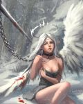 1girl 2015 absurdres artist_name bangs bare_shoulders bare_tree blood bloody_weapon bloody_wings blue_eyes breasts chain collar dated dress facial_mark ghostblade grey_dress grey_hair halo highres long_hair long_pointy_ears mole mole_under_eye number on_ground outdoors parted_bangs parted_lips pointy_ears sitting slave snow snowing solo_focus sword tree very_long_hair weapon white_wings wings yuwei_li