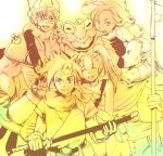 3girls 4boys ayla_(chrono_trigger) bandeau breasts chrono_trigger crono curly_hair fur_trim kaeru_(chrono_trigger) long_hair lucca_ashtear magus marle multiple_boys multiple_girls nobicco open_mouth robo short_hair
