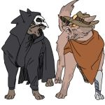 2boys angry animal animal_ears animalization black_cloak black_clothes blizzard_(company) brown_fur bullet cat cat_ears cat_tail cowboy_hat grey_fur hat hiss hood lillu lowres mask mccree_(overwatch) multiple_boys overwatch paws poncho prosthesis prosthetic_leg reaper_(overwatch) slit_pupils tagme tail trench_coat whiskers yellow_eyes