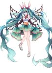 1girl absurdly_long_hair butterfly_wings green_eyes green_hair hatsune_miku highres long_hair qingye_ling sandals solo twintails very_long_hair vocaloid wings