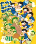 2girls 6+boys apron bald beshi_(mouretsu_atarou) black_hair bowl_cut buck_teeth cat chibita dayoon dekapan dress facial_hair hairband hand_puppet hatabou heart heart_in_mouth highres iyami kaoru-chan kemunpasu matsuno_choromatsu matsuno_ichimatsu matsuno_juushimatsu matsuno_karamatsu matsuno_matsuyo matsuno_matsuzou matsuno_osomatsu matsuno_todomatsu microphone mouretsu_atarou multiple_boys multiple_girls nyarome omawarisan_(tensai_bakabon) osomatsu-kun overalls pants police puppet sextuplet_(osomatsu-kun) sextuplets sheeeh! shirtless short_sleeves short_twintails shorts simple_background speech_bubble striped striped_pants stubble tearing_up tensai_bakabon tsubuta_hiro twintails waist_apron worms yellow_background yowai_totoko