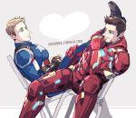 2boys beard black_hair blonde_hair captain_america captain_america_civil_war facial_hair iron_man jo_(artist) marvel multiple_boys power_armor sitting steve_rogers superhero tony_stark