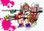 1girl bike_shorts black_shorts blue_eyes domino_mask dual_wielding e-liter_3k_(splatoon) grin headphones holding holding_weapon hydra_splatling_(splatoon) inkling long_hair mask orange_hair pointy_ears polka_dot polka_dot_background print_shirt rikosyegou shirt shoes short_hair_with_long_locks shorts smile sneakers solo splatoon standing t-shirt weapon white_shirt