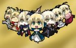 6+girls :3 :d =_= ahoge artoria_pendragon_alter_(fate/grand_order) blonde_hair breasts brown_eyes dark_excalibur dress fate/extra fate/extra_ccc fate/grand_order fate/stay_night fate/unlimited_codes fate_(series) green_eyes holding holding_sword holding_weapon japanese_clothes kimono koha-ace looking_at_viewer matsudora124 multiple_girls navel open_mouth saber saber_alter saber_bride saber_extra saber_lily sakura_saber sleeveless sleeveless_dress smile sword under_boob weapon