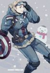1boy 2boys captain_america fur_trim goggles goggles_on_head jo_(artist) marvel multiple_boys shield snowing snowman steve_rogers tony_stark winter_clothes