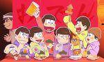 6+boys a_(a_hato_mune) akatsuka_fujio alcohol beanie beer beer_mug bowl_cut brothers drinking facial_hair food_stand hachimaki hat headband heart heart_in_mouth highres hijirisawa_shonosuke male_focus matsuno_choromatsu matsuno_ichimatsu matsuno_juushimatsu matsuno_karamatsu matsuno_osomatsu matsuno_todomatsu multiple_boys mustache oden osomatsu-kun osomatsu-san plate sextuplets siblings sleeves_past_wrists waving yatai