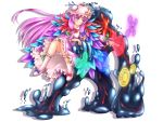 1girl blue_bow blush bow bowtie crescent dress feather_boa frilled_dress frilled_sleeves frills full_body hair_bow hair_ribbon hat hozenkakari loafers long_hair long_sleeves magic:_the_gathering magic_circle mob_cap patchouli_knowledge pink_legwear purple_hair red_bow red_bowtie ribbon shoes sidelocks slime smile socks star striped striped_dress touhou tress_ribbon very_long_hair violet_eyes