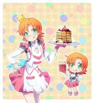 1girl apron blueberry cherry chibi chibi_inset cleavage_cutout crown fingerless_gloves food fruit gloves green_eyes highres iesupa jar nora_valkyrie orange_hair pancake rwby skirt smile solo strawberry syrup tongue tongue_out whipped_cream