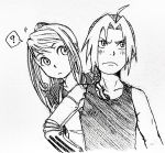 1boy 1girl ? absurdres ahoge automail braid edward_elric fullmetal_alchemist highres monochrome pinoko_(pnk623) ponytail prosthesis prosthetic_arm single_braid sketch spoken_question_mark tank_top winry_rockbell wrench
