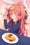 1girl :3 ^_^ ahoge animal_ears blush chair cherry_tomato closed_eyes closed_mouth commentary_request crescent crescent_hair_ornament eating fake_animal_ears hair_ornament heart highres kantai_collection ketchup long_hair long_sleeves omelet plate rabbit_ears school_uniform serafuku shiruzu_(sk10102194) sitting solo spoon uzuki_(kantai_collection)