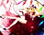 1girl arm_up armpits bare_legs blonde_hair blush bow brooch closed_mouth crystal daimaou_ruaeru demon_wings detached_sleeves dress elbow_gloves flandre_scarlet flower full_body gem gloves hat hat_bow heterochromia high_heels holding holding_hat jewelry long_hair looking_at_viewer magic_circle mob_cap plague_doctor_mask puffy_short_sleeves puffy_sleeves purple_shoes rainbow_order red_bow red_dress red_eyes red_gloves red_rose rose sapphire_(stone) shatter shoes short_sleeves side_ponytail solo touhou vampire violet_eyes white_hat wings