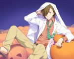 1boy barefoot_sandals bed_sheet blue_background brown_hair candy facial_hair funikurikurara goatee gradient gradient_background hair_over_one_eye idolmaster idolmaster_side-m jack-o'-lantern labcoat lollipop male_focus mustache necktie polka_dot pumpkin shirt simple_background sitting solo striped striped_shirt tie_clip yamashita_jirou