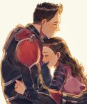 1boy 1girl ant-man ant-man_(film) bodysuit brown_hair cassie_lang closed_eyes cowlick father_and_daughter headwear_removed helmet helmet_removed highres hug long_hair marvel qin_(7833198) scott_lang shirt short_hair smile striped striped_shirt superhero