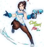 1girl adapted_costume alternate_costume artist_name blue_boots blue_gloves boots breasts brown_hair character_name cleavage cleavage_cutout covered_navel dress full_body glasses gloves gun hair_bun hair_ornament hairpin holding holding_weapon large_breasts mei_(overwatch) one_leg_raised open_mouth overwatch pantyhose red-framed_glasses robot short_hair smile solo standing transparent_background weapon white_background