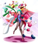1girl absurdres black_legwear breasts brooch chimecho chingling earrings formal gallade green_hair hat hat_removed headwear_removed highres jacket jewelry leotard long_hair magician mr._mime open_mouth pantyhose pokemon pokemon_(anime) pokemon_(creature) ribbon shizue_(pokemon) smile suit top_hat violet_eyes wand yomitrooper