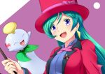 1girl breasts brooch chimecho earrings formal green_hair hat highres jacket jewelry long_hair magician open_mouth pantyhose pokemon pokemon_(anime) pokemon_(creature) ribbon shizue_(pokemon) smile suit top_hat violet_eyes wand yomitrooper