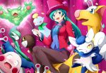 1girl absurdres black_legwear breasts brooch chimecho chingling earrings formal gallade girafarig green_hair hat highres jacket jewelry leotard long_hair magician meowstic mounting mr._mime open_mouth pantyhose pokemon pokemon_(anime) pokemon_(creature) reuniclus ribbon shizue_(pokemon) smile suit top_hat violet_eyes wand yomitrooper