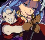 1boy 1girl cape chrono_trigger enoo gloves jewelry long_hair lowres magus mother_and_son pointy_ears purple_hair queen_zeal scythe weapon
