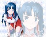 akiyama_mio argyle bad_id blue_eyes blue_hair hime_cut k-on! kneeling long_hair mayo_riyo solo thighhighs waitress zoom_layer