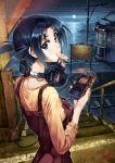 blue_eyes blue_hair full_moon headphones headphones_around_neck long_hair looking_back moon moonlight mouth_hold night scenery solo sony ticket train train_station tram vania600