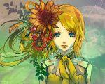 bad_id beauty blonde_hair blue_eyes flower kagamine_rin sad short_hair solo tcs vocaloid